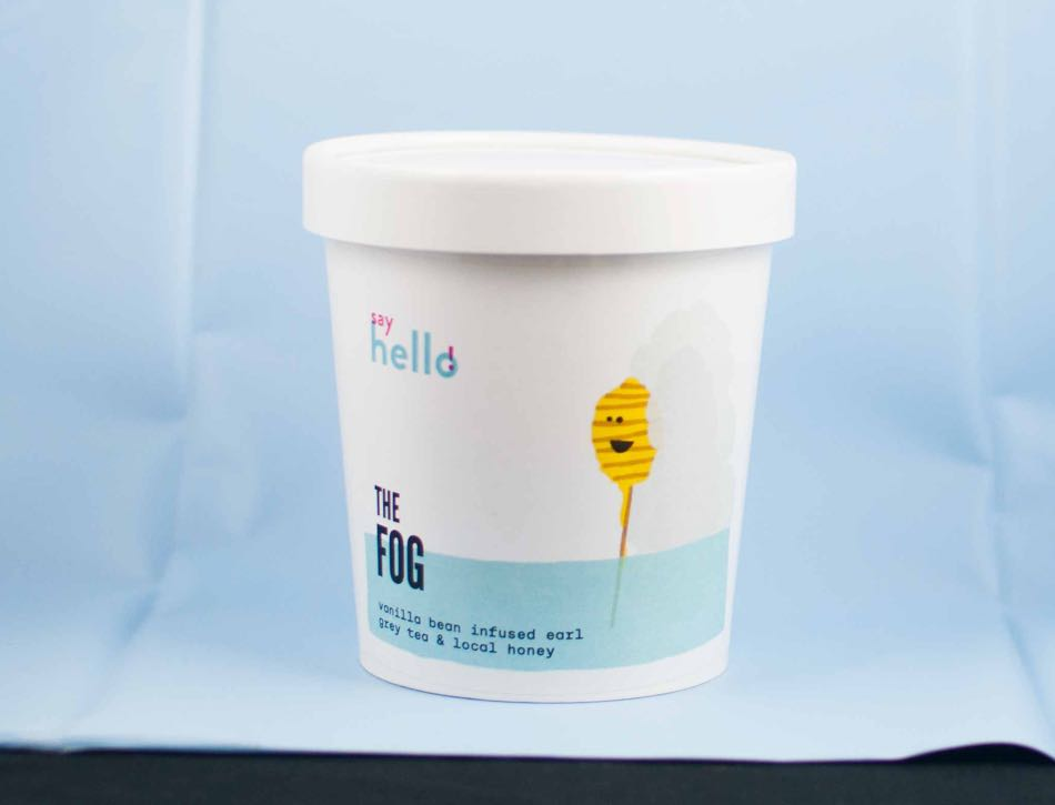 """Say Hello Sweets """"The Fog Ice Cream Label"""" label for 473ml pints with a vibrant yellow illustration of a honey dipper - by Dima."""