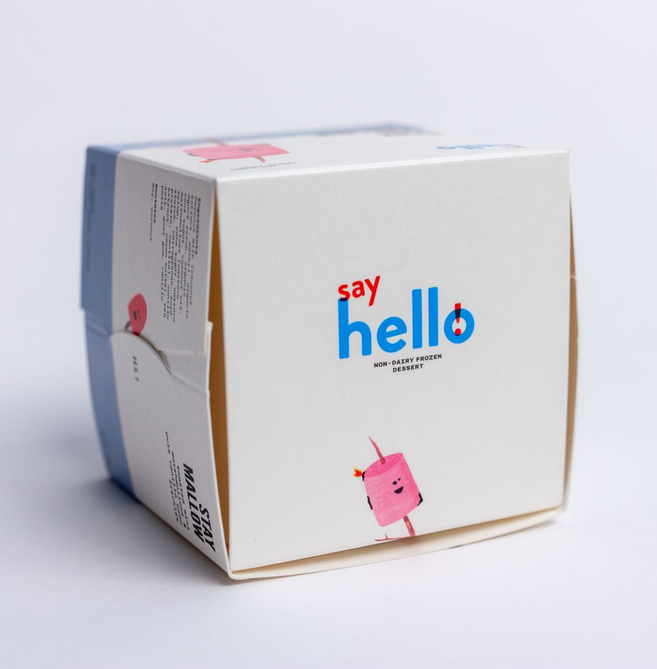 Say Hello Sweets close up of custom structural design of a food safe, glue free ice cream container with Marshmallow illustration by Jessica Fraser — by Yagnyuk.