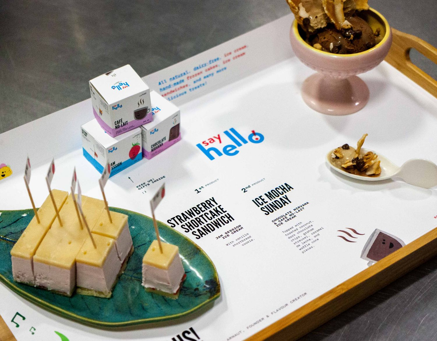 Say Hello presentation for BC Product of the Year award, with bite size plated ice cream and informational tray describing the product — by Dima.