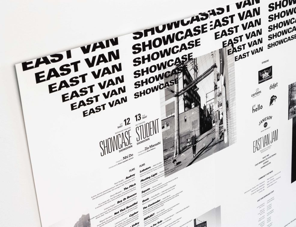 "Typographic poster with ""East Van Showcase"" cascading into film festival event information - by Dima."