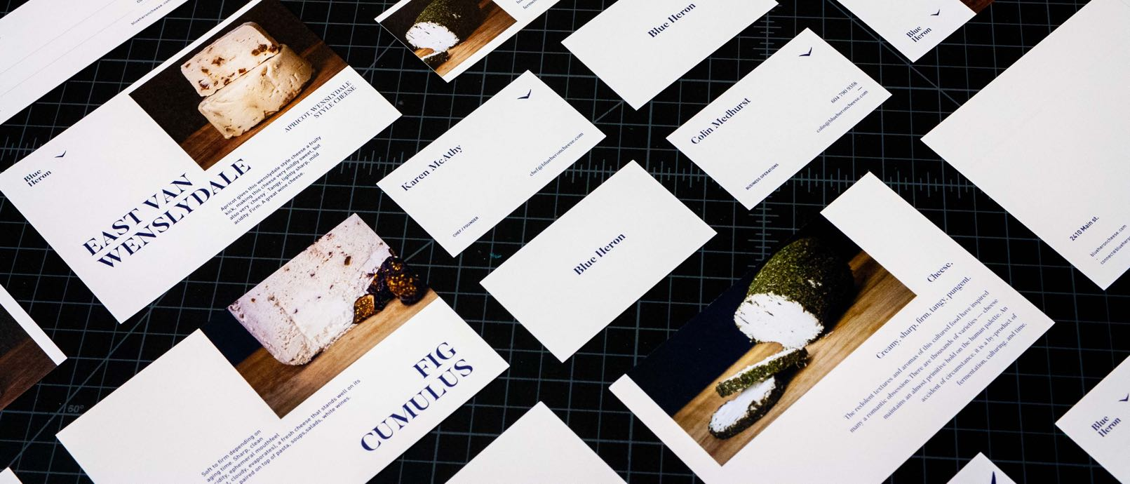 Series of cheese focused postcards and business cards for Blue Heron Cheese, each featuring a macro photo of the cheese and Karen McAthy's product descriptions — by Dima Yagnyuk.