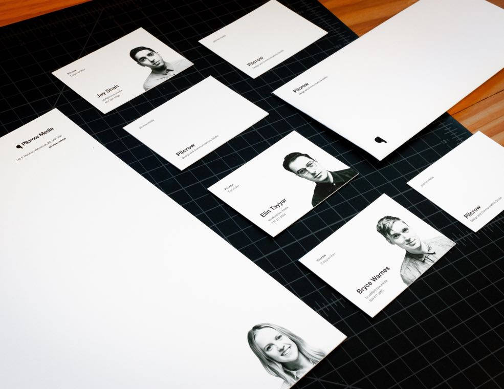Pilcrow Media stationary, letterhead and business cards featuring black and white portrait photography of studio staff — by Dima Yagnyuk.