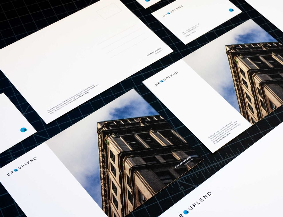Grouplend postcards featuring Edwardian style inspired architecture of The Standard Building in Vancouver BC — by Dima Yagnyuk.