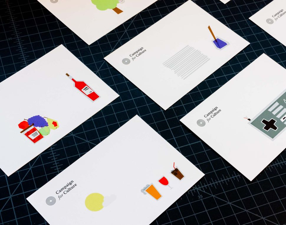 """Happy Hour""  Campaign for Culture postcards featuring a series of campaign illustrations such as drink glasses, liquor bottles, fruit, and inkwell — by Dima"