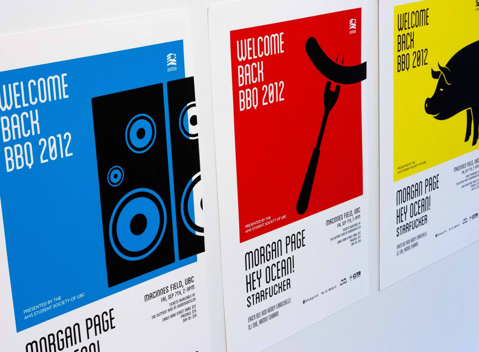 Solid Blue, Red, and Yellow Posters, featuring black iconographic illustrations of speakers, sausage on fork, and a pig along with text outlining playing musicians — by Dima.