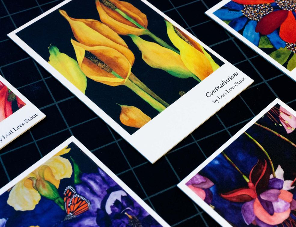Business cards featuring water color paintings of yellow lilies and other colorful flowers by Lori Lees-Stout — by Yagnyuk.