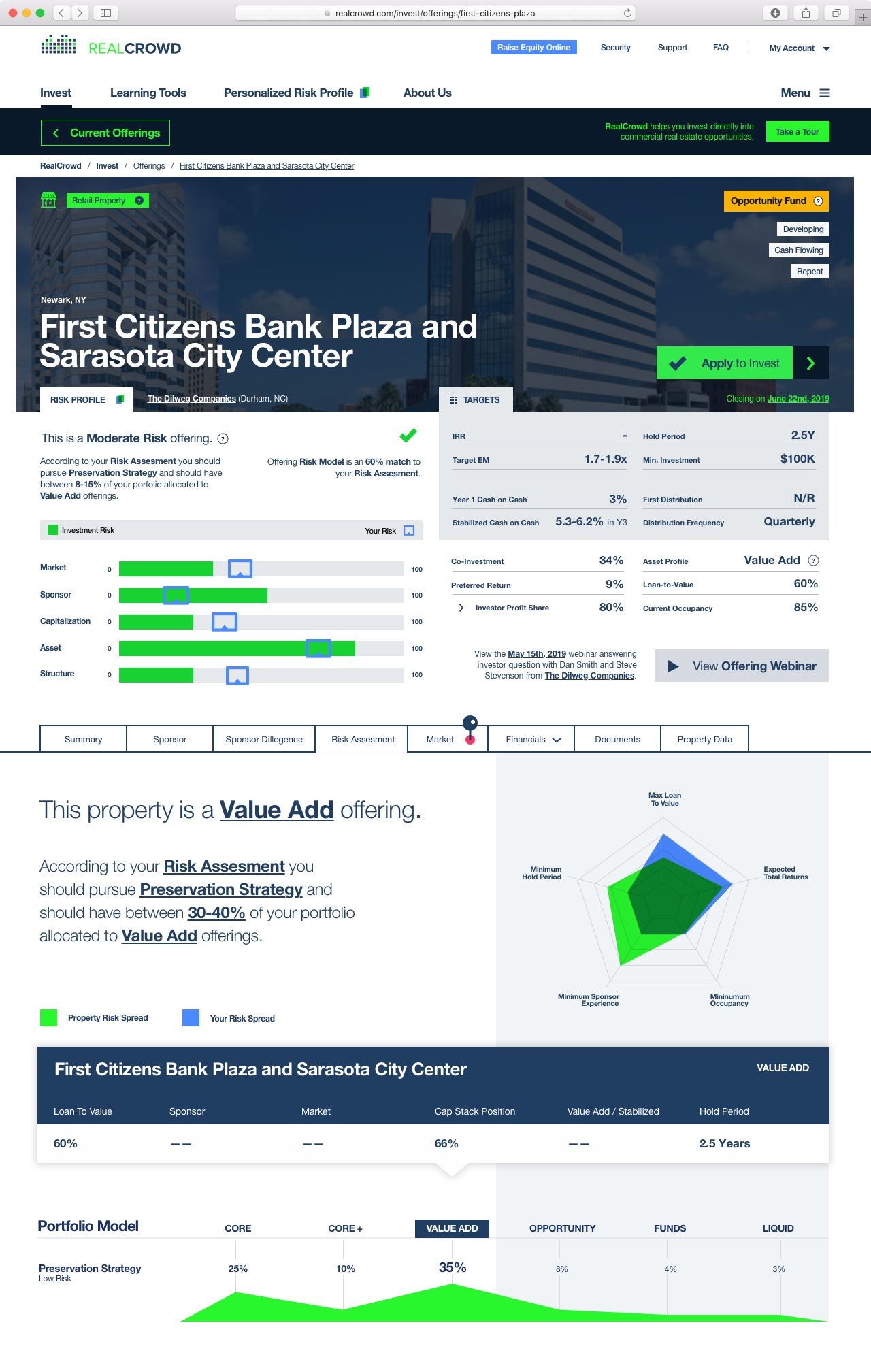 RealCrowd Offering page showing a large amount of real estate offering data arranged tidily on a grid — by Dima Yagnyuk.