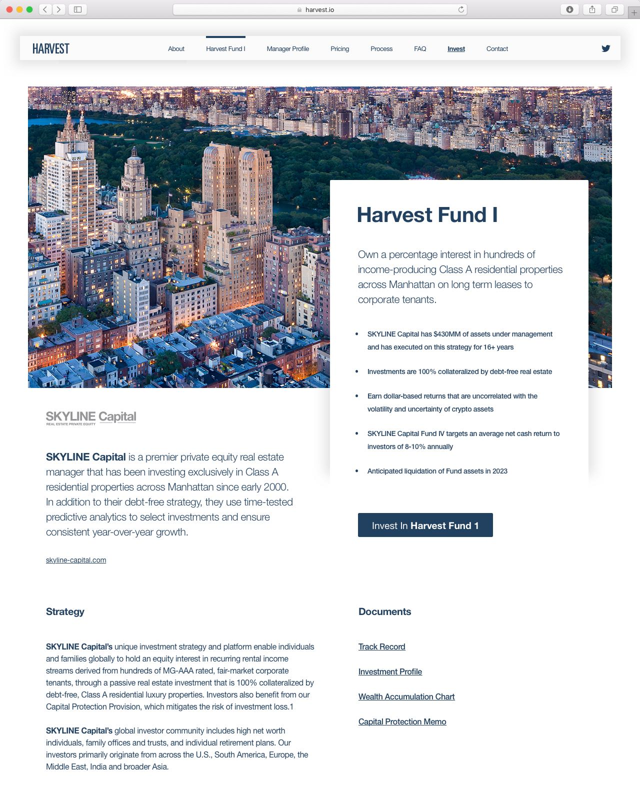Harvest Real Estate Cryptocurrency Website featuring clean typography and high resolution city photography for a premium real estate feel— by Yagnyuk.