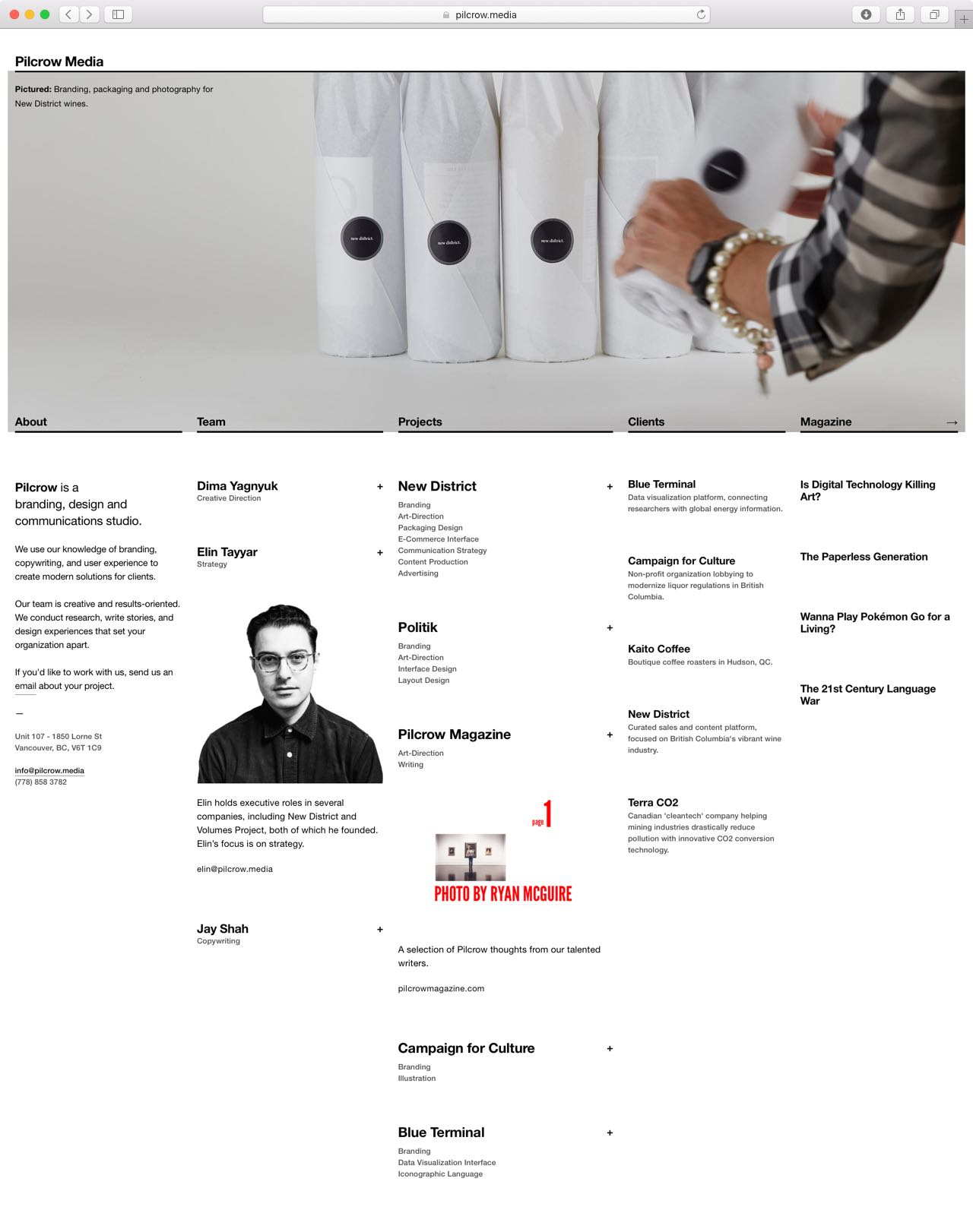Pilcrow Media five column informational website with prominent image and typographically matched columns for helper content — by Dima Yagnyuk.