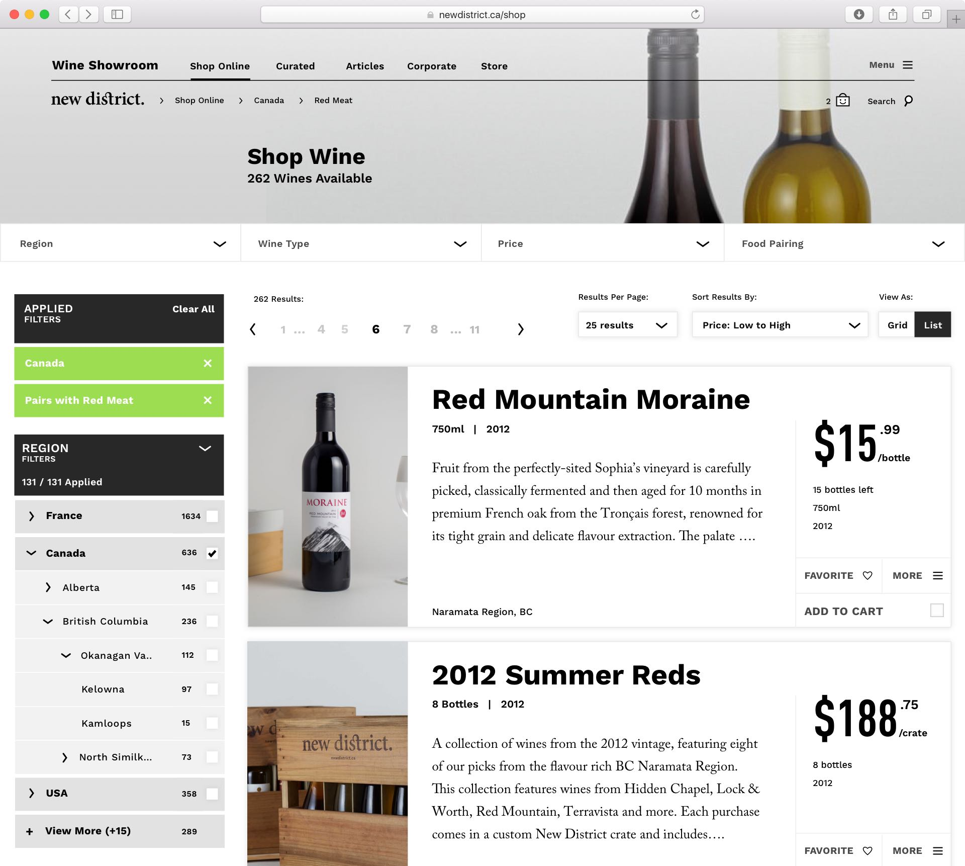 Detailed layout of New District E-Commerce platform winery detail view with shopping filters applied — by Dima Yagnyuk.