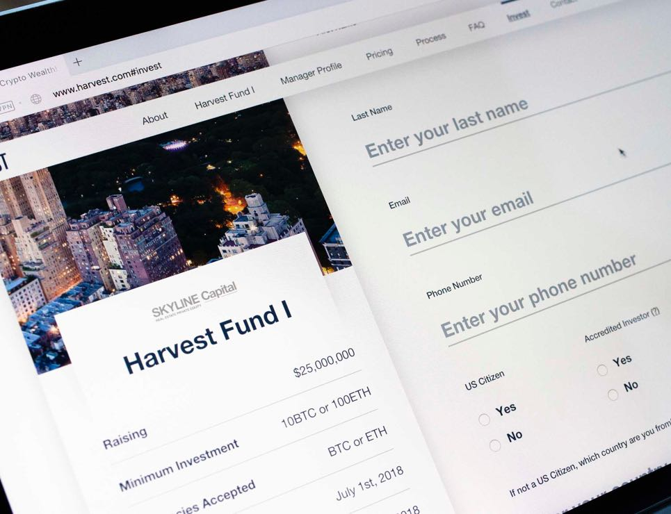 Close up of the Harvest Funds sign up interface — by Dima Yagnyuk.