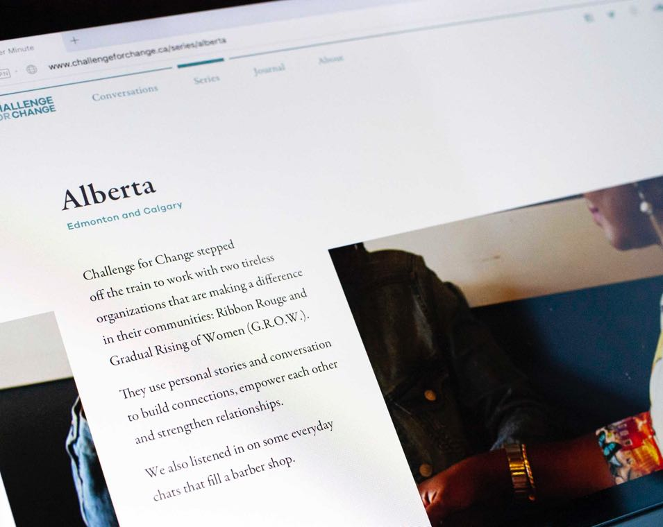 "Close up of ""Alberta Featured Series"" entry. Typography is set against a background of people talking — by Yagnyuk."
