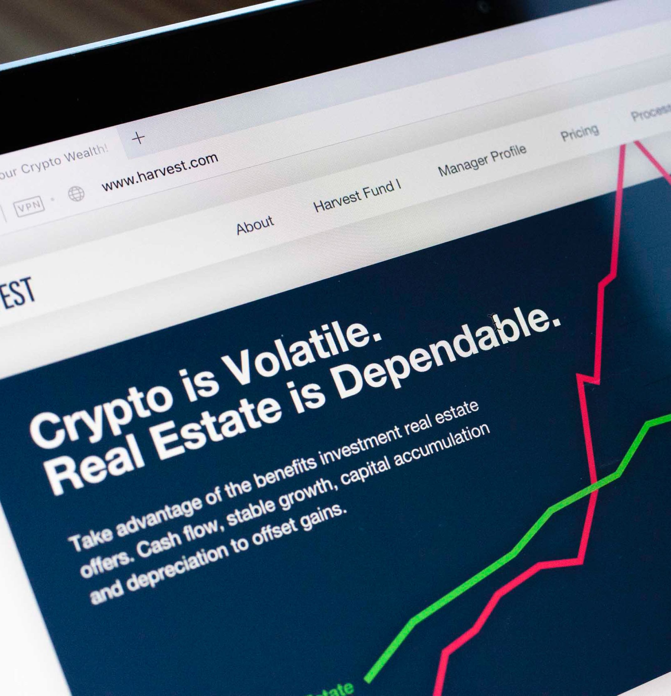 Harvest Real Estate Funs interactive neon pink and green graph of cryptocurrency vs real estate prices — by Dima Yagnyuk.