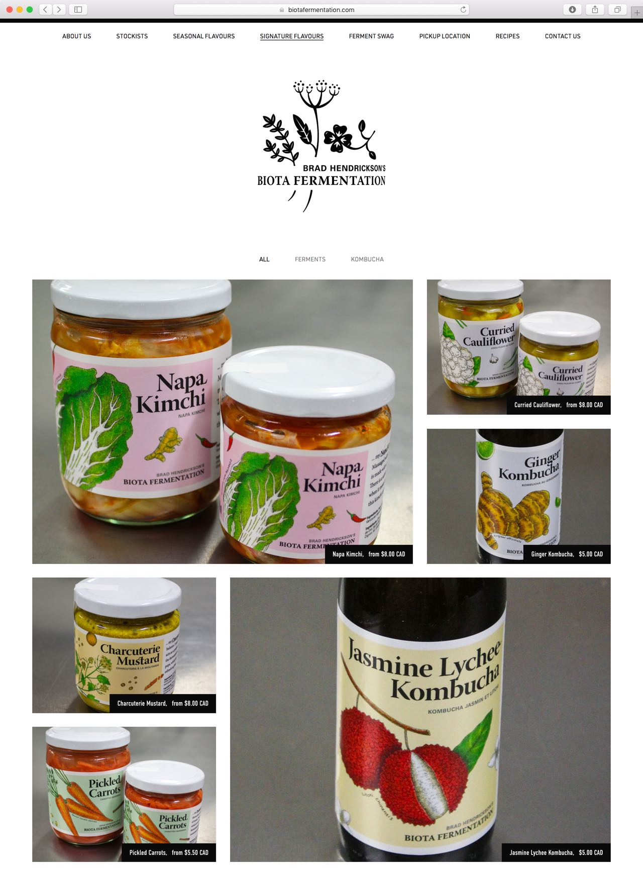 Biota Fermentation E-Commerce Website featuring vibrant botanical illustration — by Yagnyuk.