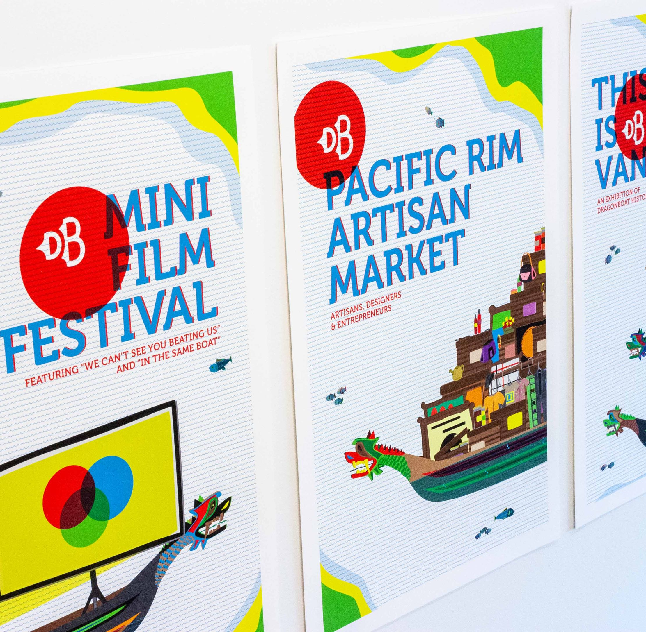 Series of Advertisement Posters for Vancouver Dragon Boat Festival featuring colorful hand drawn illustrations of the dragon boats and festival events — by Yagnyuk.