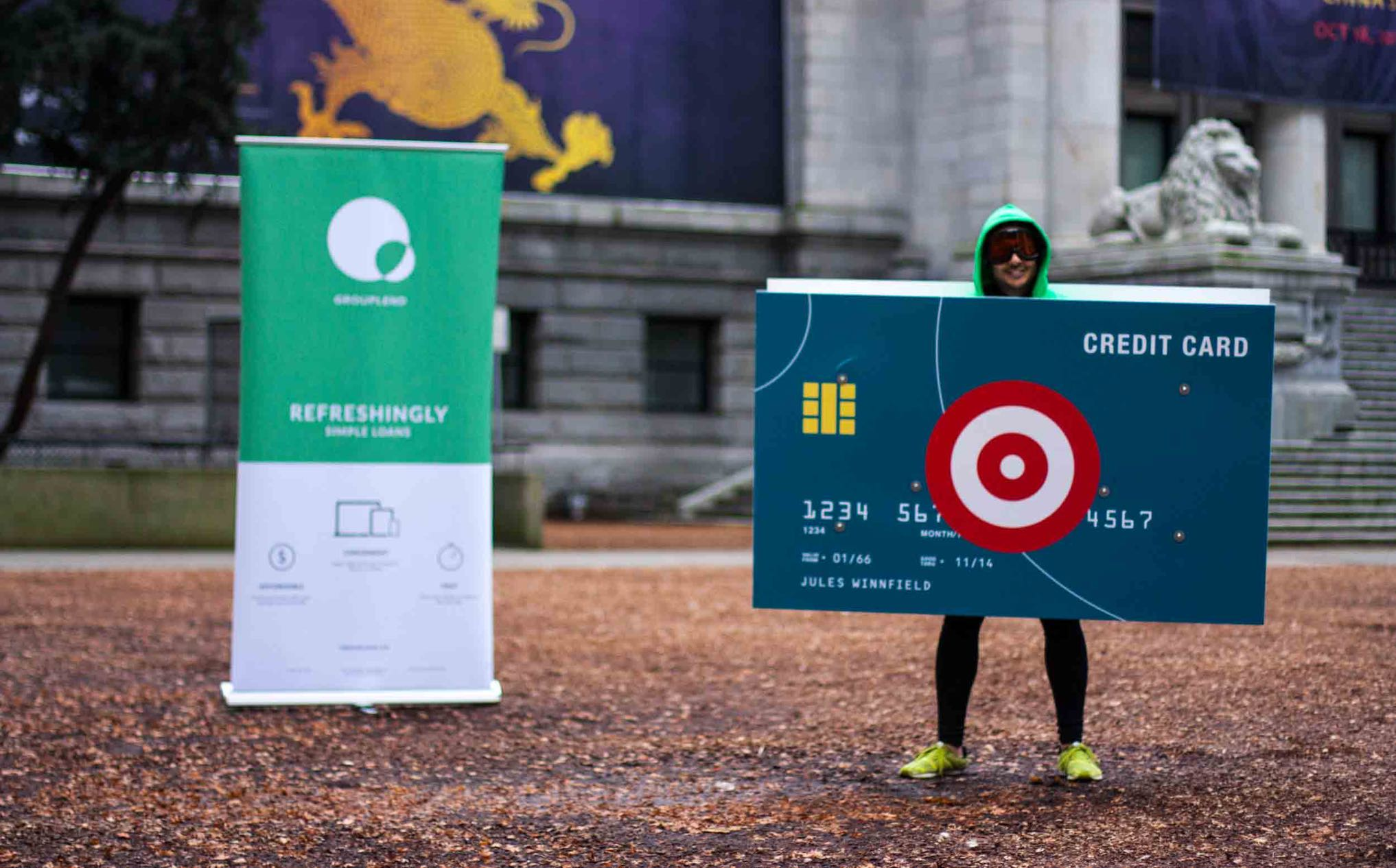 Grow Financial experiential campaign setup at the Vancouver Art Gallery with CEO Kevin Sandhu wearing a custom credit card costume — by Dima Yagnyuk.