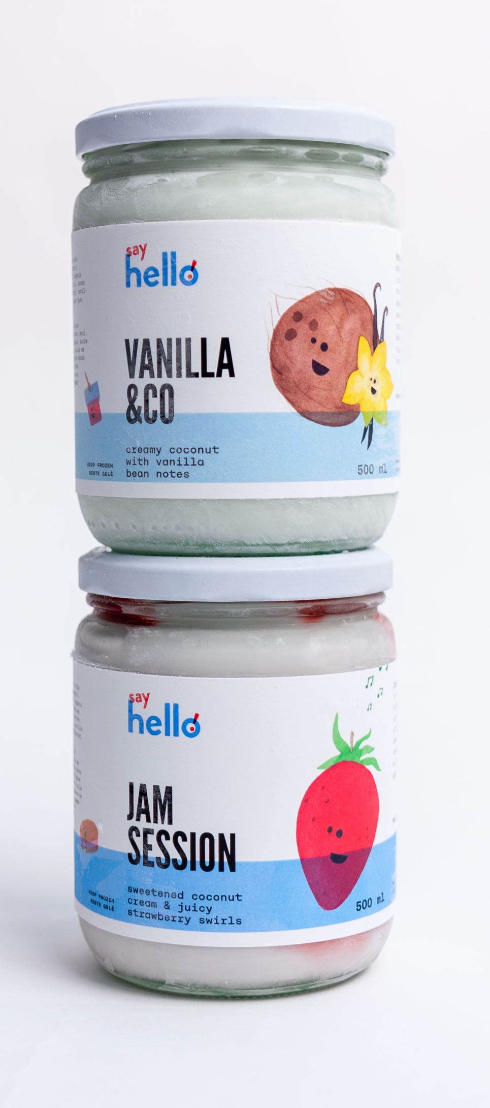 Say Hello Sweets 500ml Glass Jars with vibrant labels for vanilla and strawberry illustrations by Jessica Fraser — by Yagnyuk.