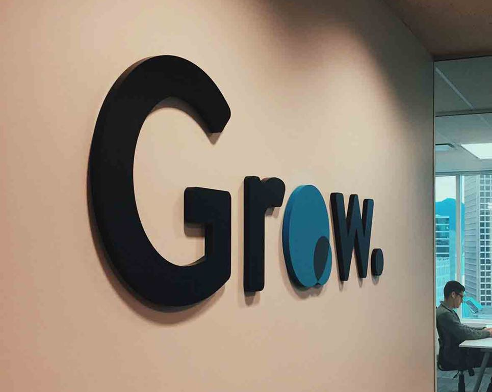 Grow financial physical sign at the Vancouver location.