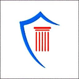 The Authentic Forensics company logo consisting of a blue shield outline and red column signifying the court system.