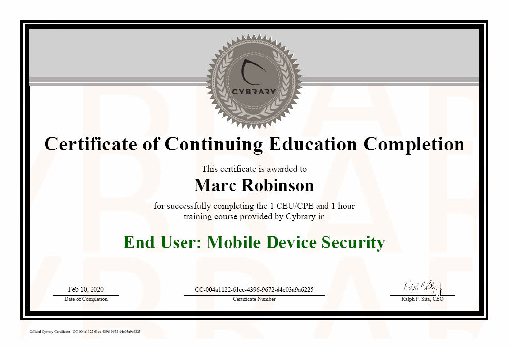 Audio Video Forensic Analyst Certification - Diploma for Marc Robinson
