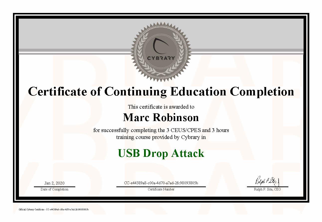 USB Drop Attack CEU Certificate for Marc Robinson