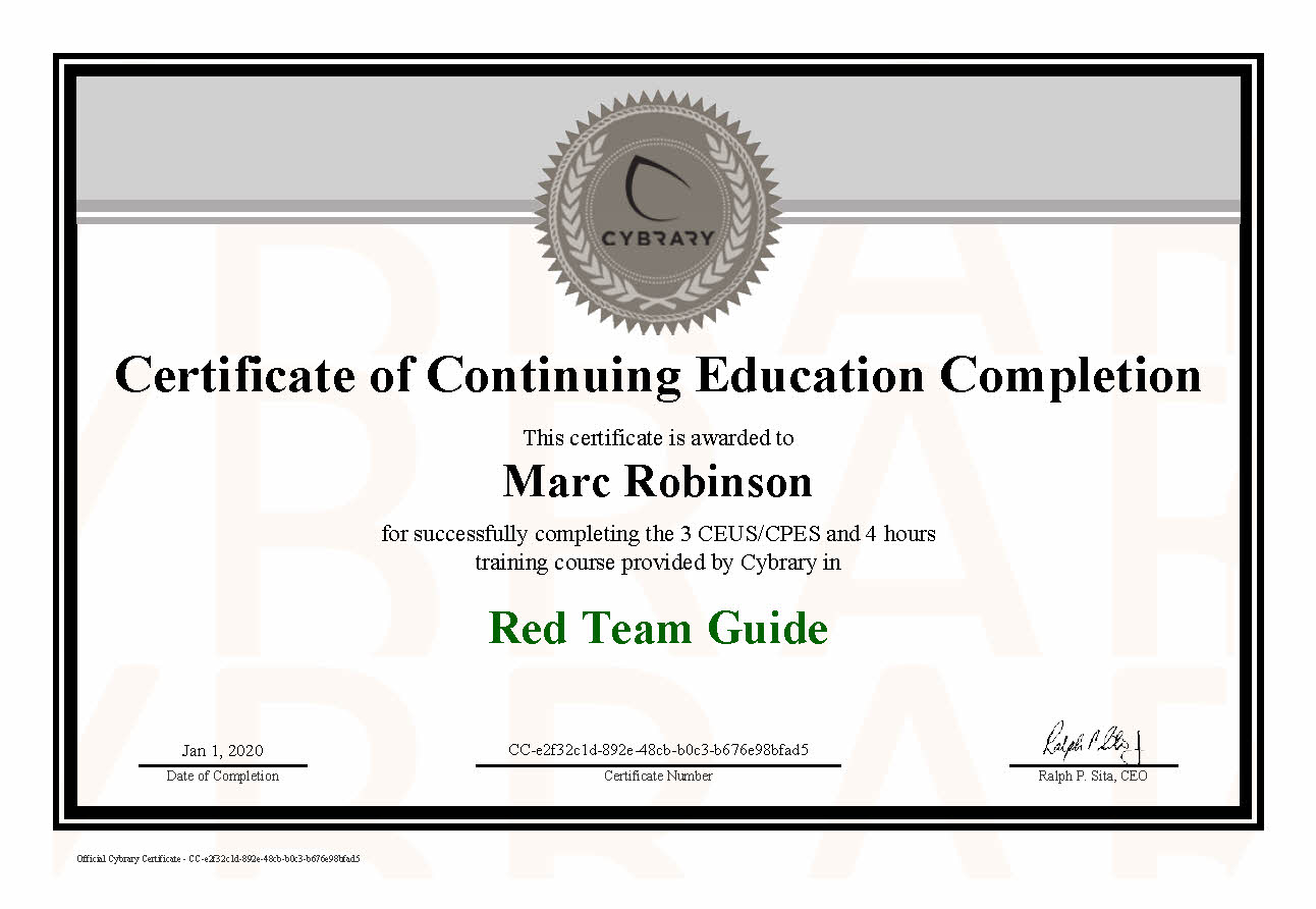 CEU Red Team Guide Course Certificate for Marc Robinson