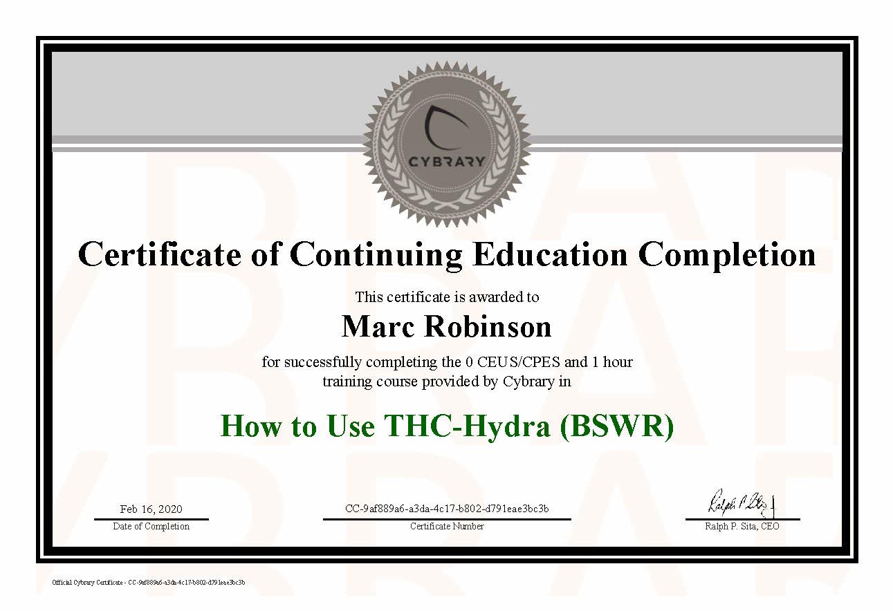 CEU THC-Hydra Course Certificate for Marc Robinson