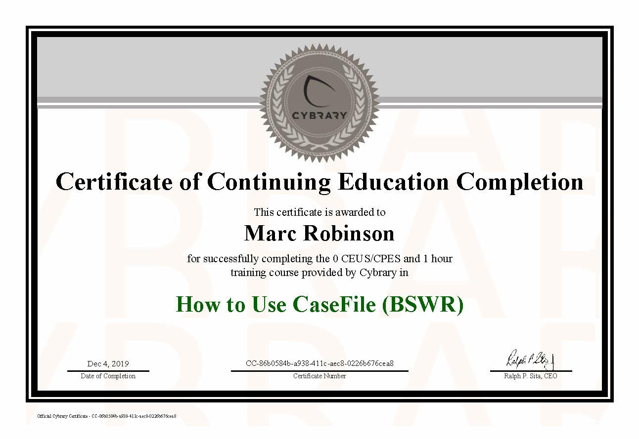 CEU CaseFile Course Certificate for Marc Robinson