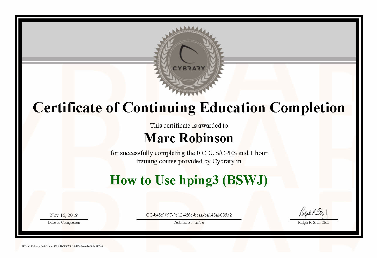 CEU HPing3 Course Certificate for Marc Robinson