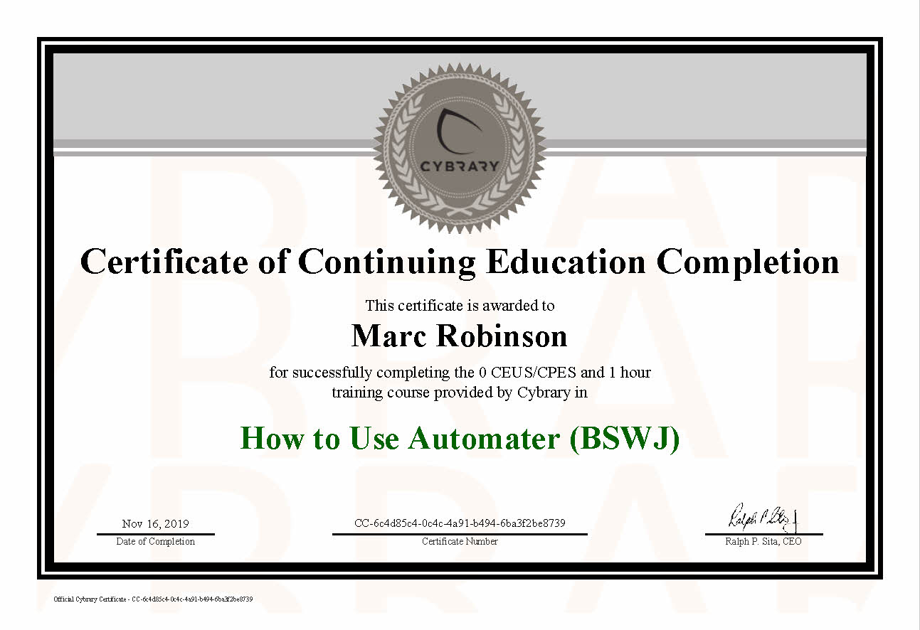 CEU Automater Course Certificate for Marc Robinson