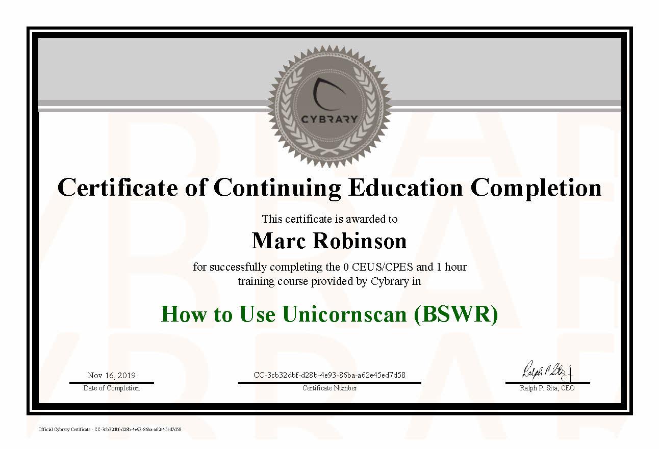 CEU Unicorn Course Certificate for Marc Robinson