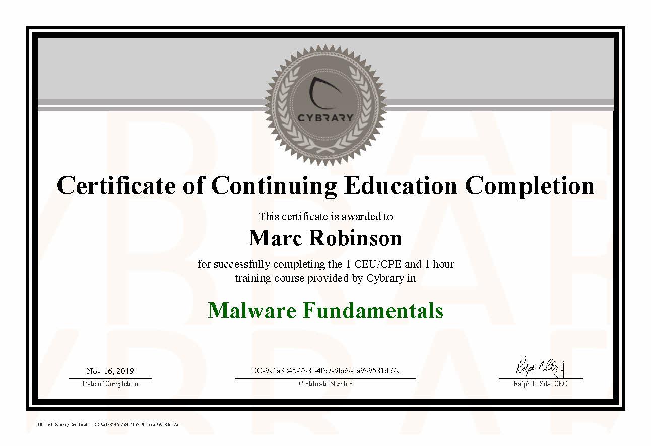 CEU Malware Fundamentals Course Certificate for Marc Robinson