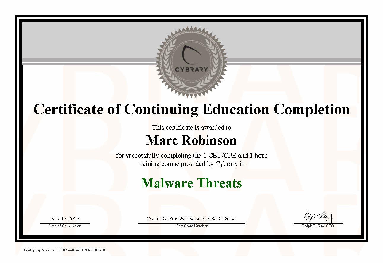 CEU Malware Threats Course Certificate for Marc Robinson