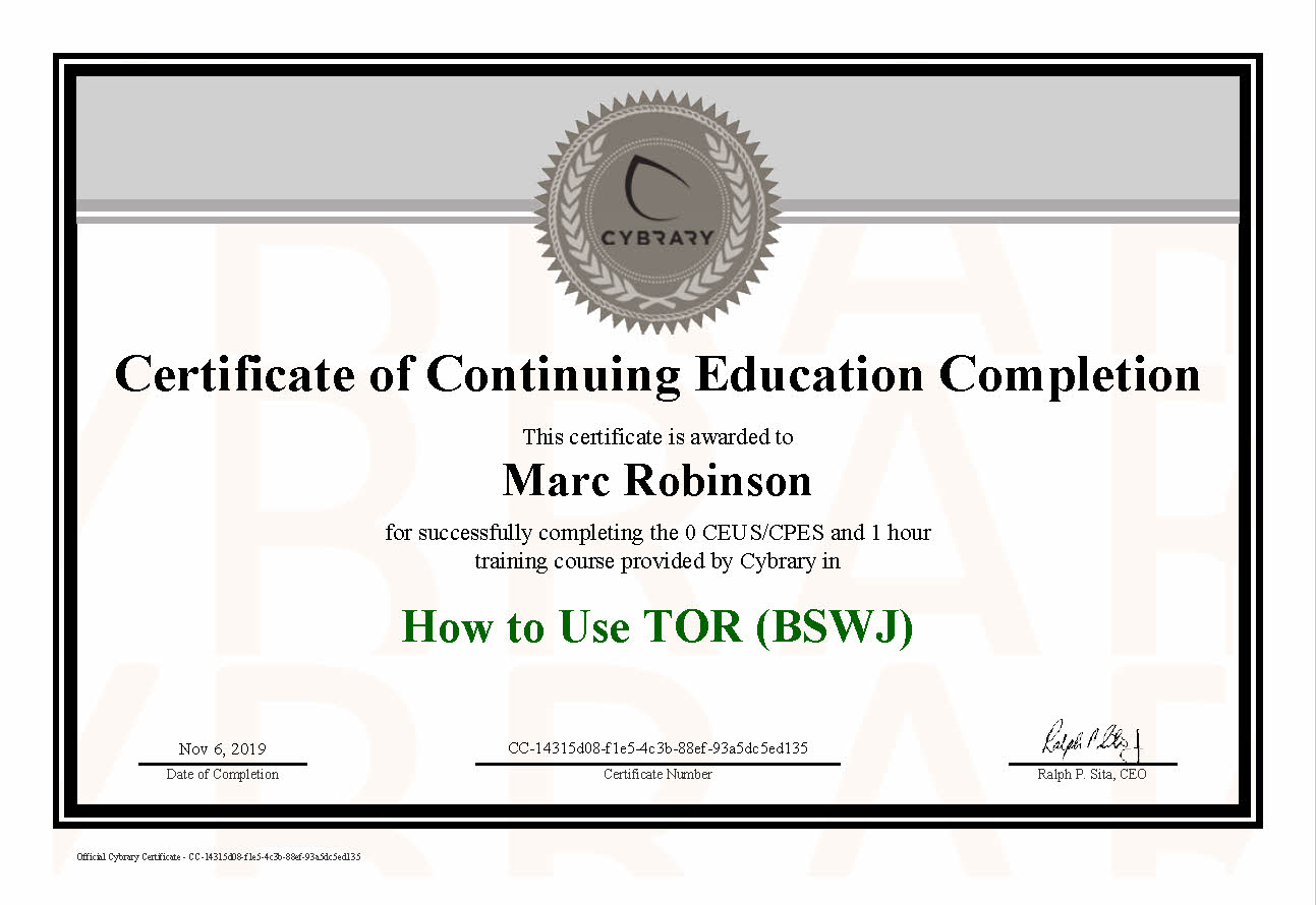 CEU TOR Network Course Certificate for Marc Robinson