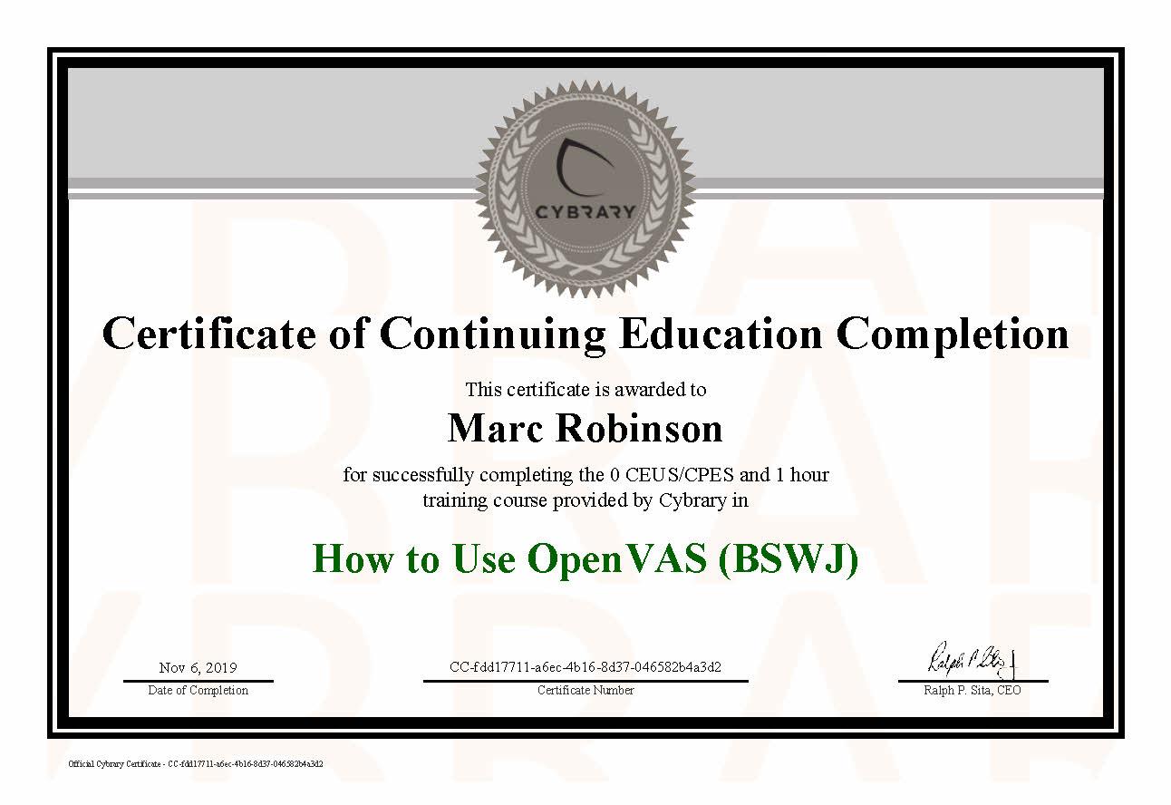 CEU OpenVAS Course Certificate for Marc Robinson