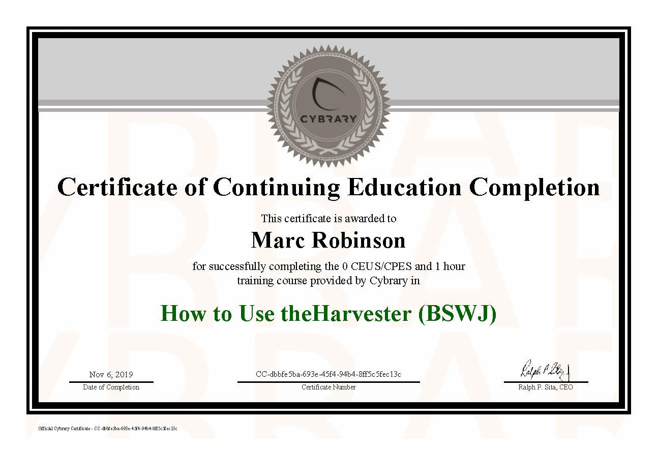 CEU theHarvester Course Certificate for Marc Robinson