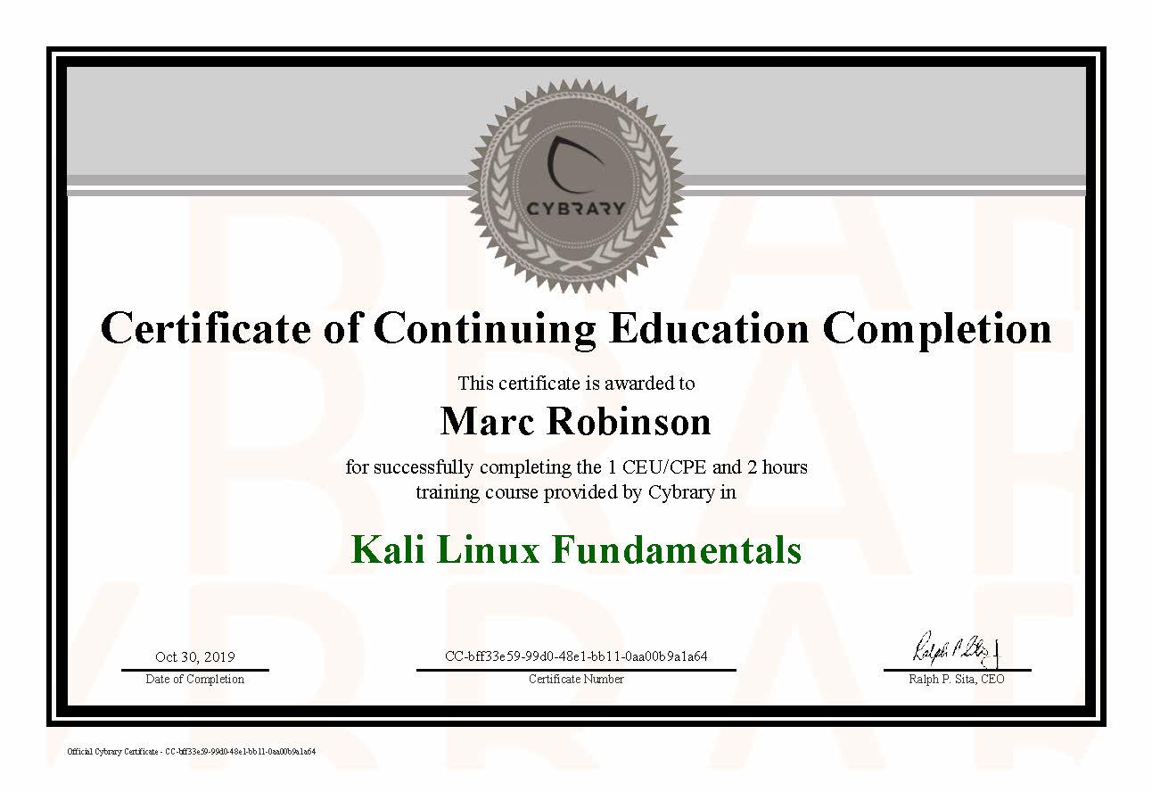 CEU Kali Linux Course Certificate for Marc Robinson