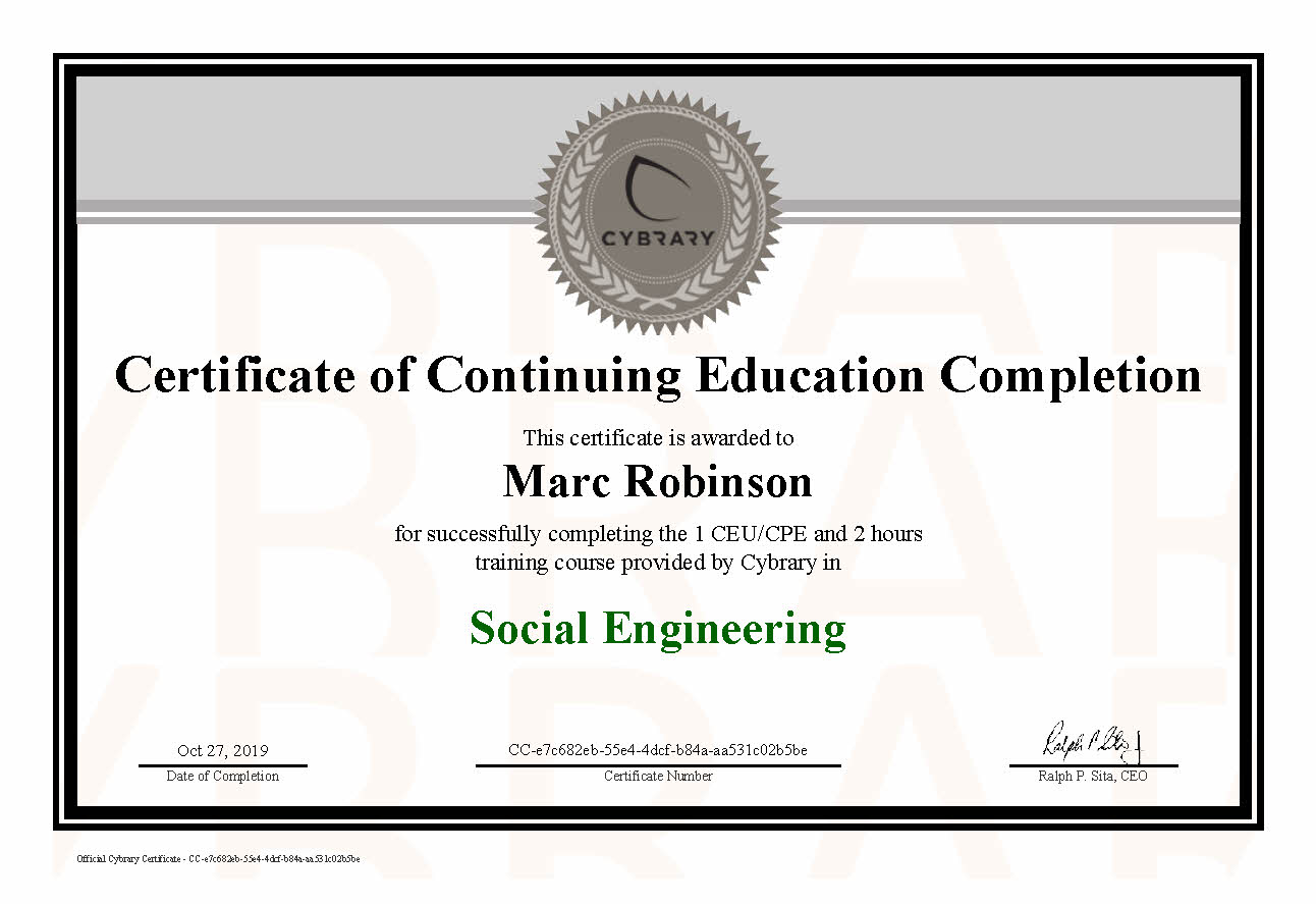 CEU Social Engineering Course Certificate for Marc Robinson