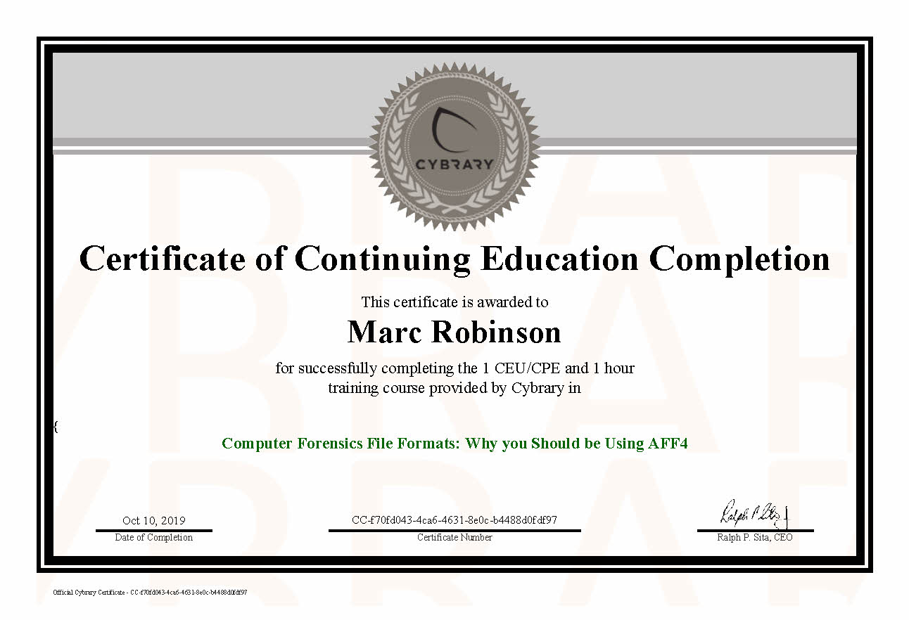 CEU Computer Forensics File Formats Certificate for Marc Robinson