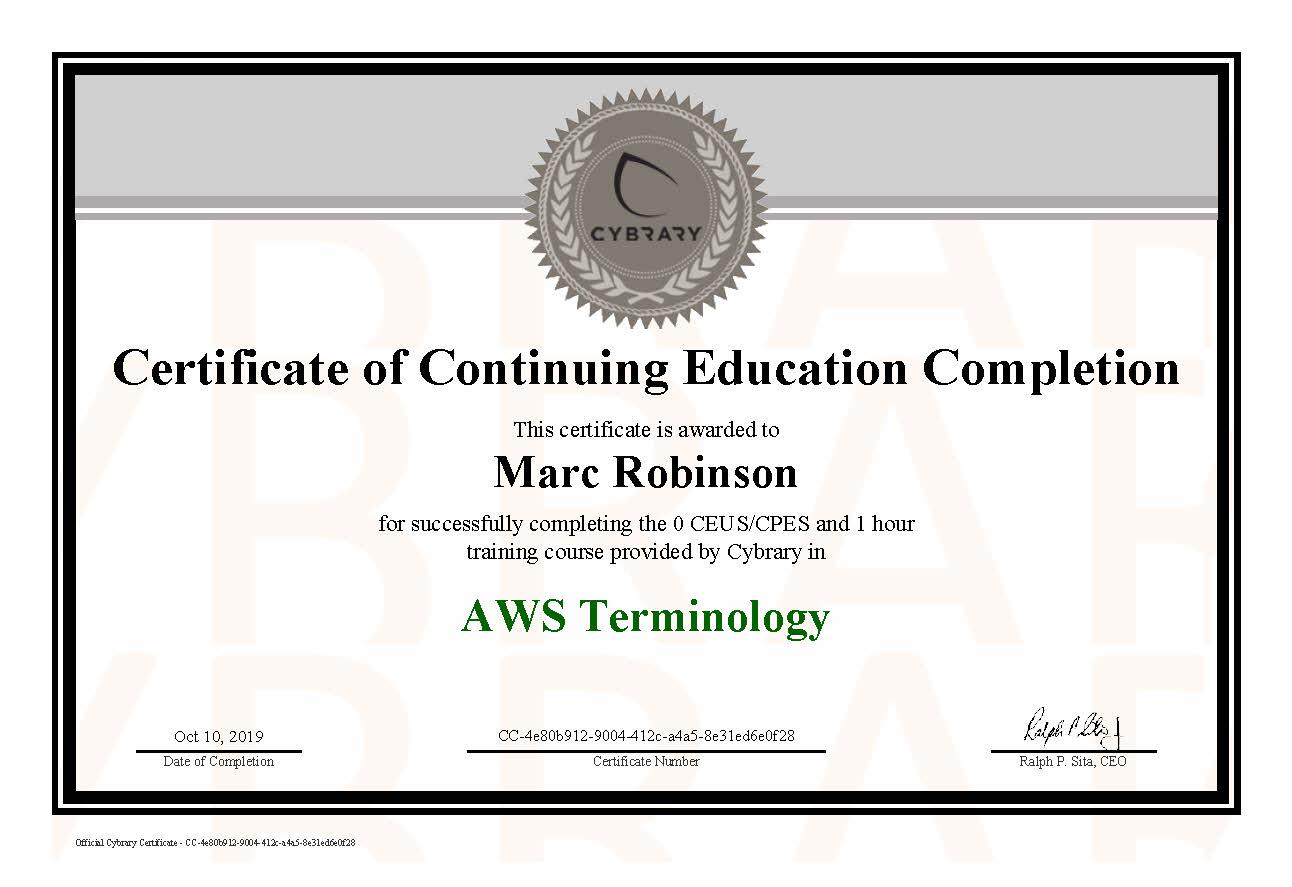 CEU AWS Terminology Certificate for Marc Robinson