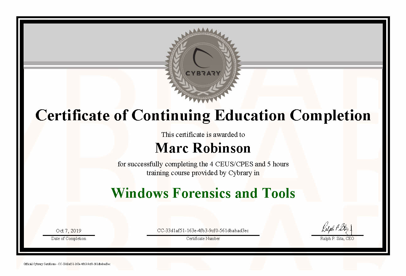 CEU Windows Forensics and Tools Certificate for Marc Robinson