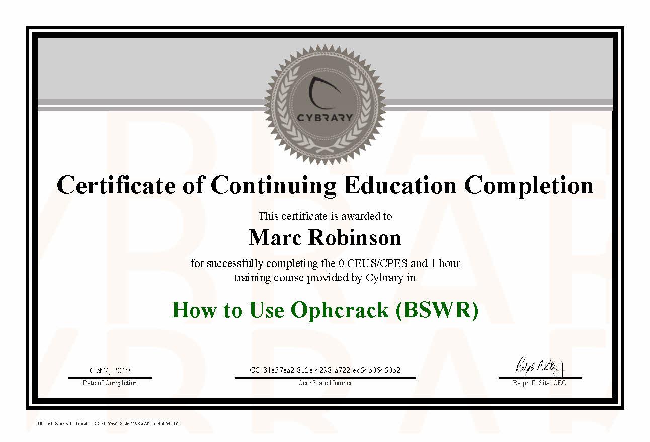 CEU Ophcrack Password Tool Certificate for Marc Robinson