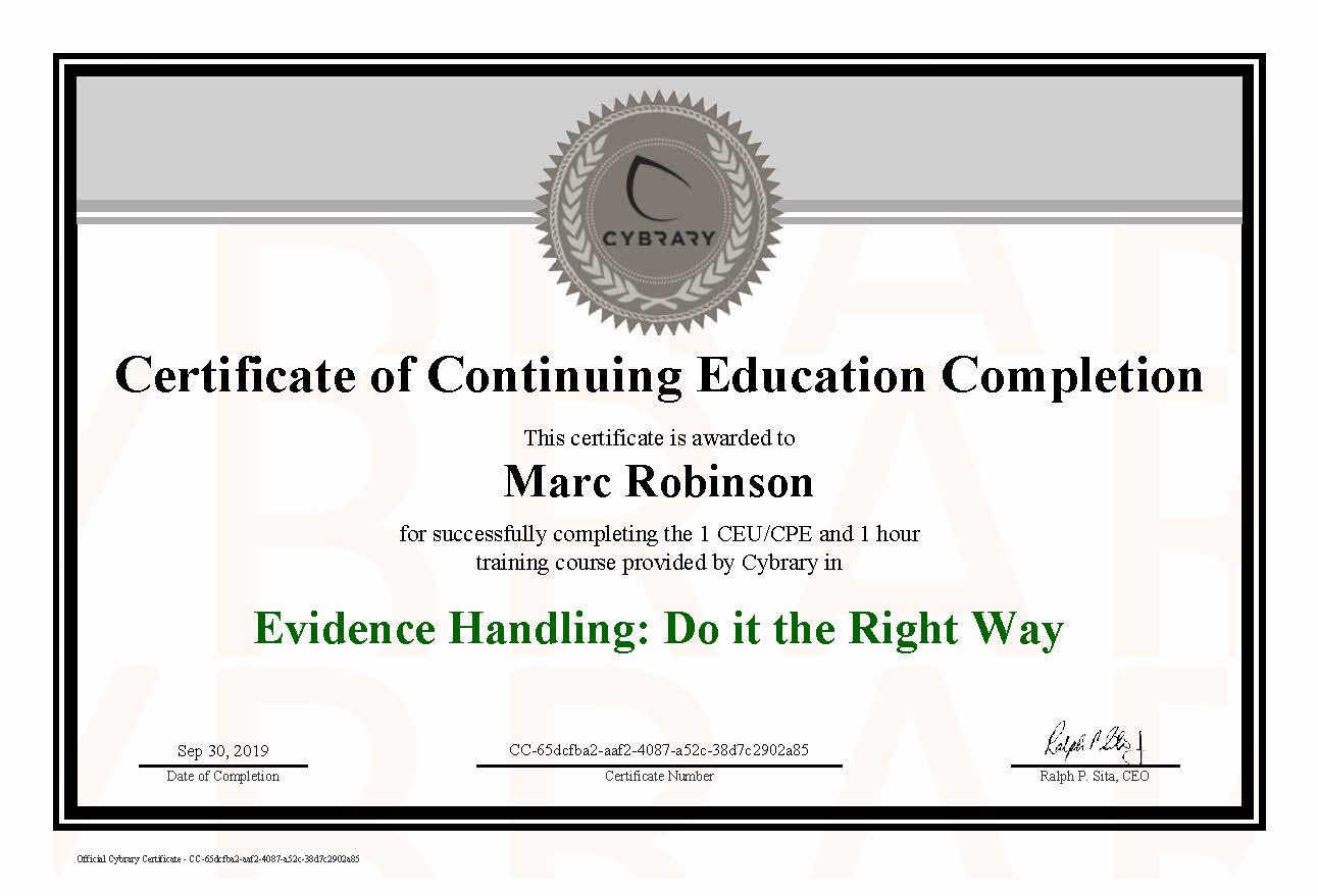 CEU Evidence Handling Certificate for Marc Robinson