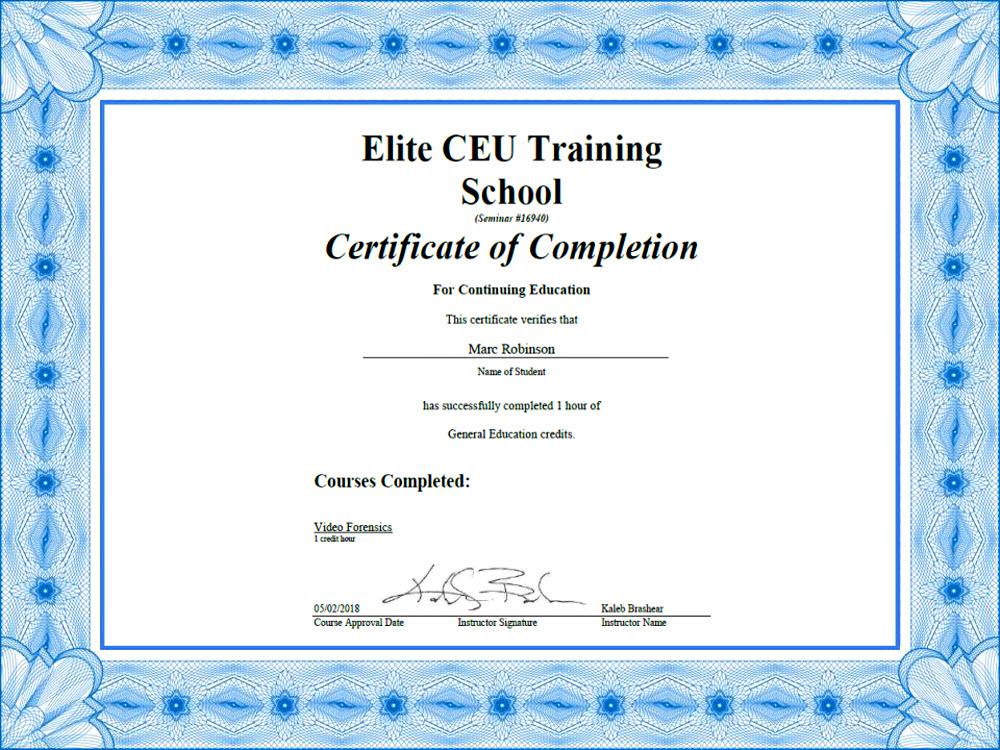CEU Video Forensics Certificate for Marc Robinson