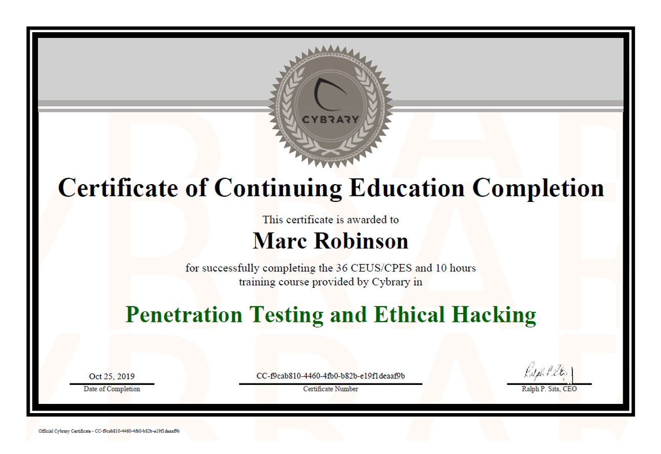Penetration Testing and Ethical Hacking Certificate for Marc Robinson
