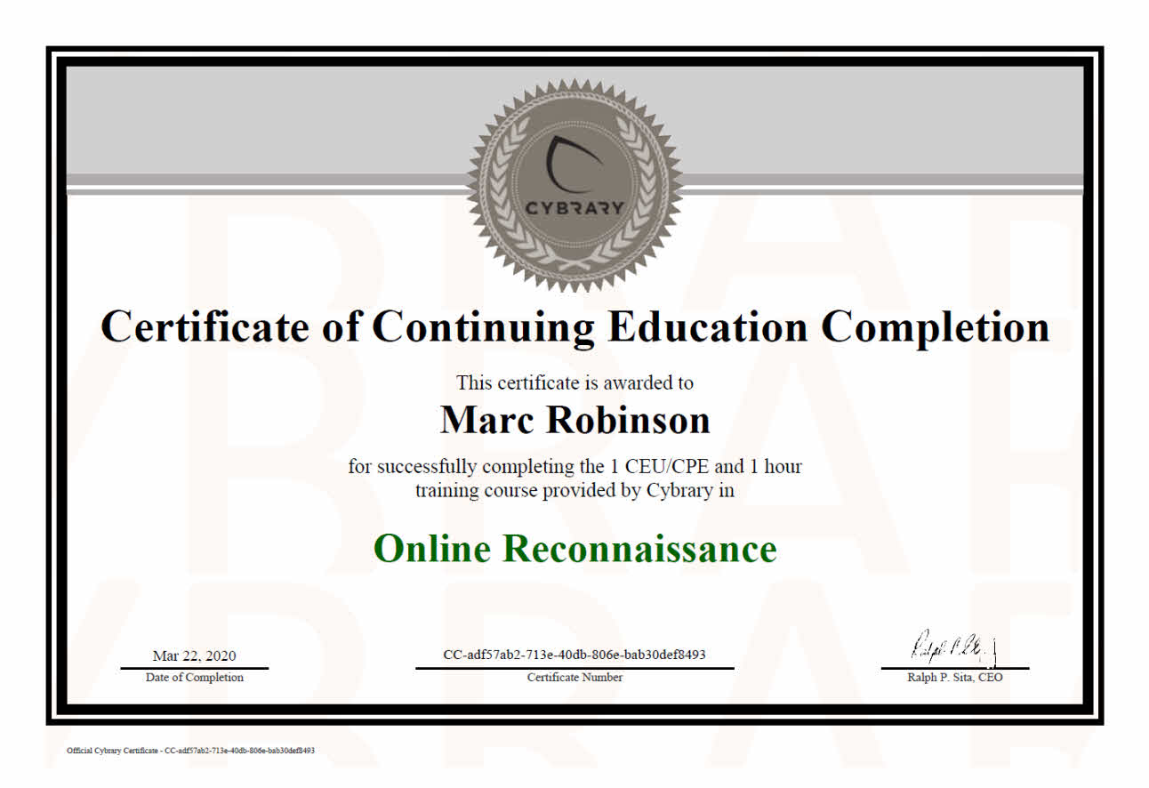 Continuing Education Certificate in Online Reconnaissance for Marc Robinson