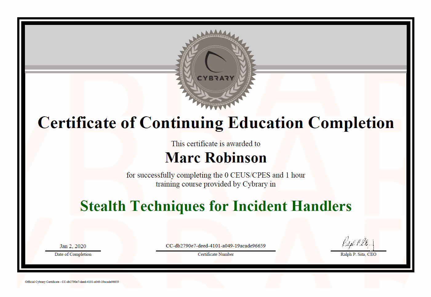 Continuing Education Course Certificate in Stealth Techniques For Incident Handlers for Marc Robinson
