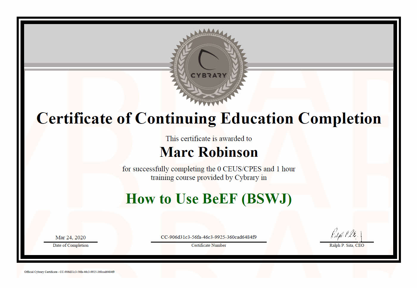 Continuing Education Course Certificate in BeEF Framework for Marc Robinson