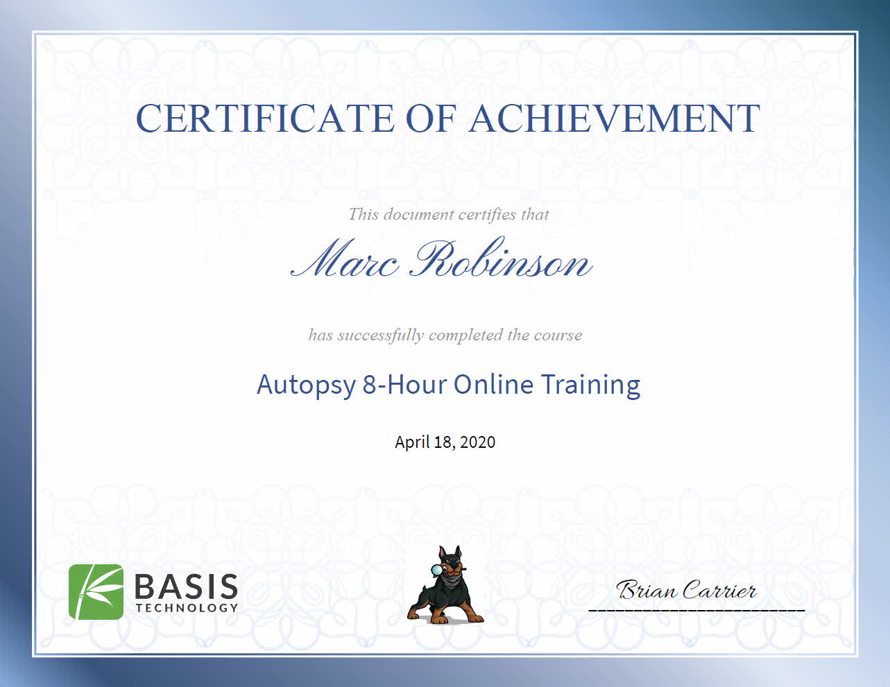 Autopsy Forensic Software Training for Marc Robinson