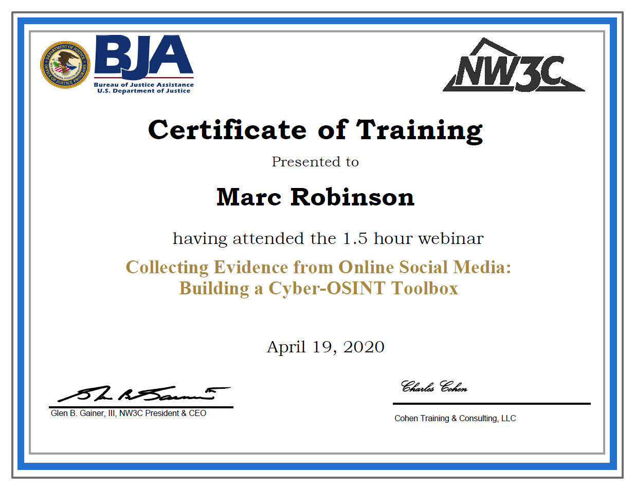 US Department of Justice Training Certificate for Marc Robinson